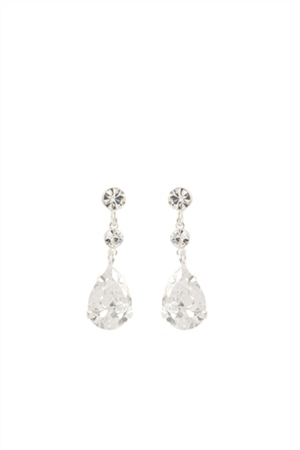 Crystal Drop Earrings (Clear) - Dance Competition Jewelry | Go Girl USA
